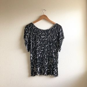 Vintage 1980's beaded silk blouse sequin sz:S cute